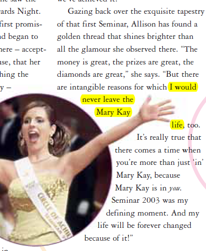"""Allison LaMarr Lies: """"I would never leave the Mary Kay life."""""""